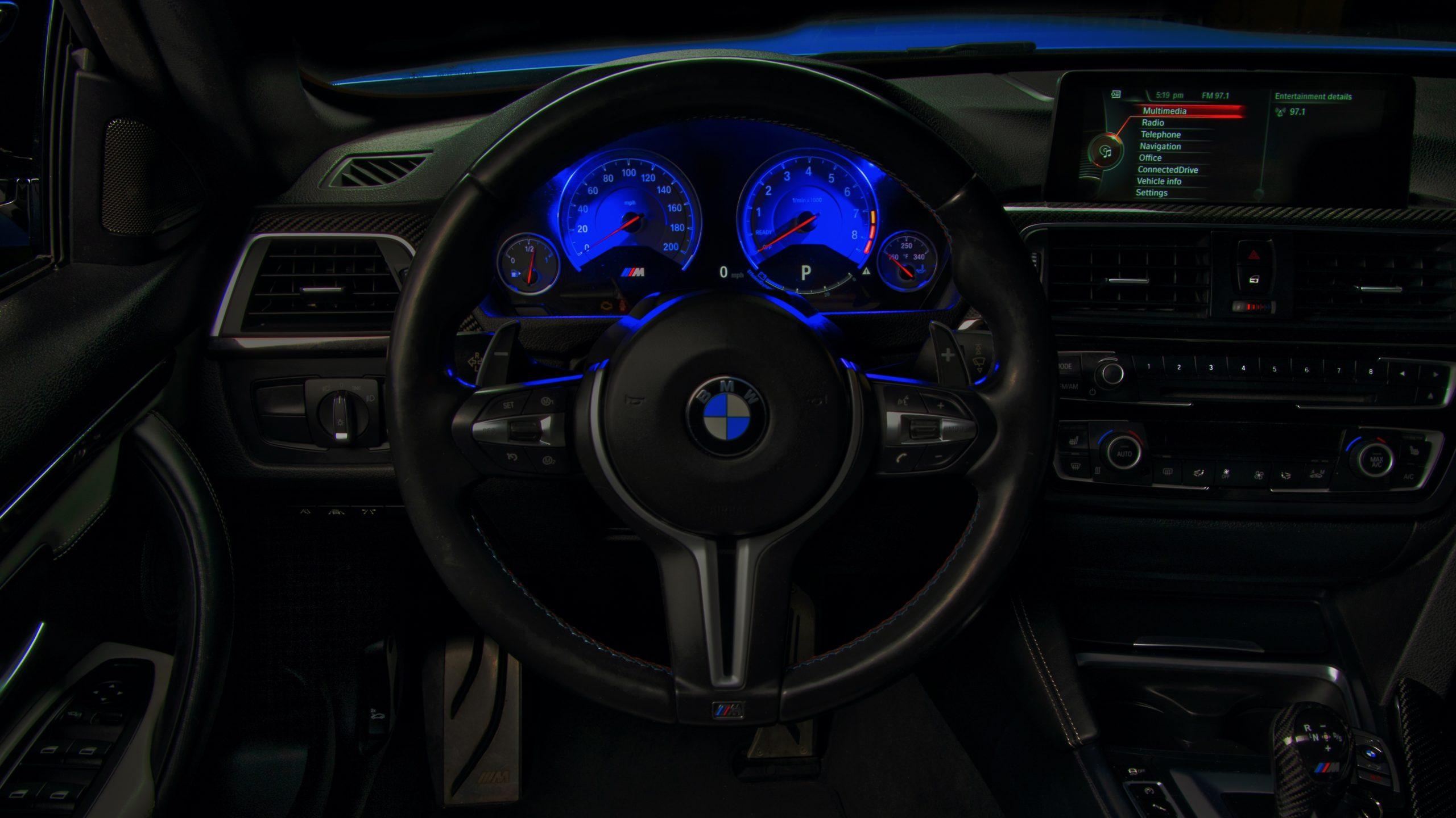 Dashboard of a BMW M4 with K40 Electronics Radar Installed