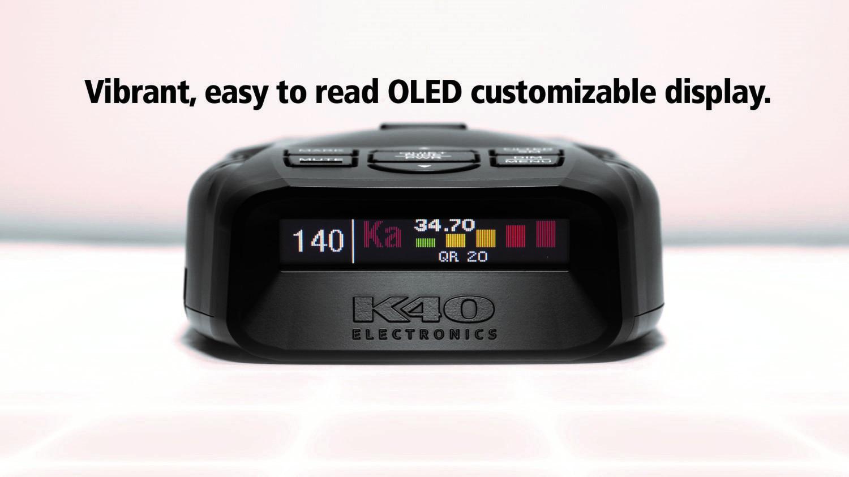 K40 platinum 100 radar detector front view
